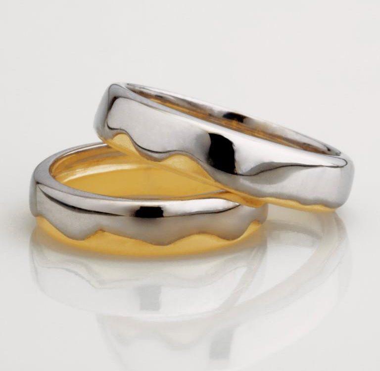 Aliança Transformação ouro branco e ouro amarelo