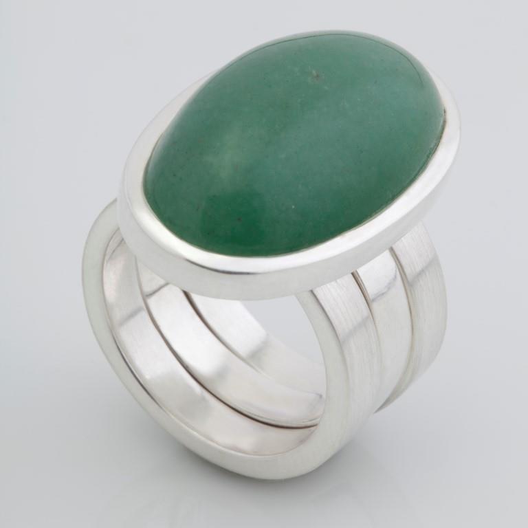Anel Encaixe - Prata e Quartzo Verde