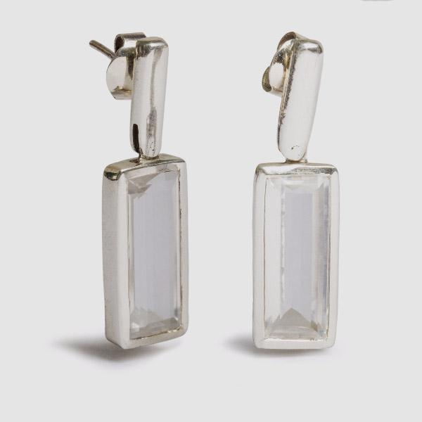Brinco Cristal Retangular Estreito Ag
